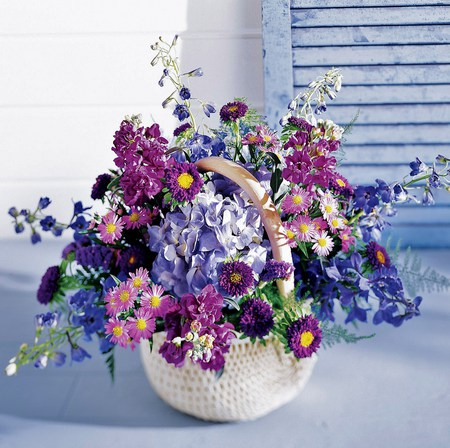 The blues - flowers, shudders, white, blue, pinks, basket, blue table, arrangement