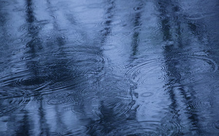 Raindrops - rain, blue, raindrops, photography