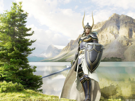 Defend our land - medieval, warrior, landscape, guerrero, kokyn, knight, fantasia, paisaje, lago, battle, mountains, fantasy