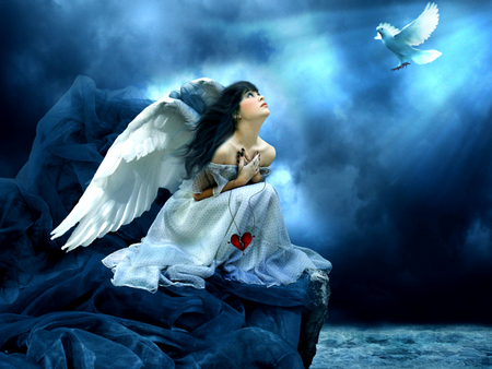 Angel Looking Up - wings, angel, blue, female, water, clouds, bird, stormy, fantasy, rock