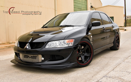Black 2004 Mitsubishi Lancer Evolution VIII - lancer, viii, black, mitsubishi, evolution, 2004, evo