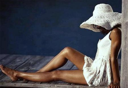 Ready for the summer - dock, woman, white hat, summer, relaxing, water, sun dress