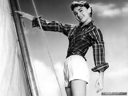 audrey hepburn - studio, plaid blouse, legs, beautiful, short hair, sailboat, black and white, publicity still, sexy, brunette, actress, audrey hepburn, smiling, white shorts