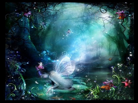 BUTTERFLY FAIRY - green, butterflies, forest, fairy