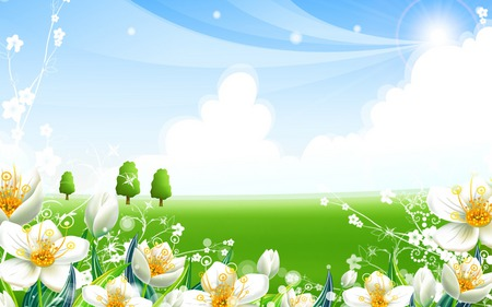 Super Happy Fun Green Valley - cartoon, happy, flowers, valley, green, white, fun