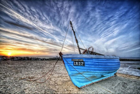 Boat - beautiful, colorful, sky, rocks, colors, blue, sand, beach, clouds, sunny, boat, sea, sun, nature, peaceful, boats