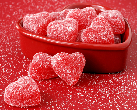 Heart Fruit Jellies - candies, soft, red, lollies, bowl, sugar
