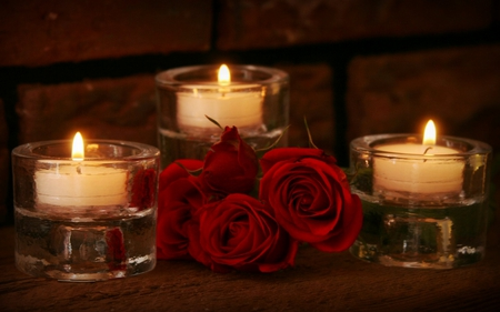Red Roses And Candles - flowers, beautiful, pretty, romantic, beauty, for you, candlelight, red, valentines day, rose, with love, candle, candles, lights, lovely, red roses, light, photography, still life, roses, red rose, nature, romance