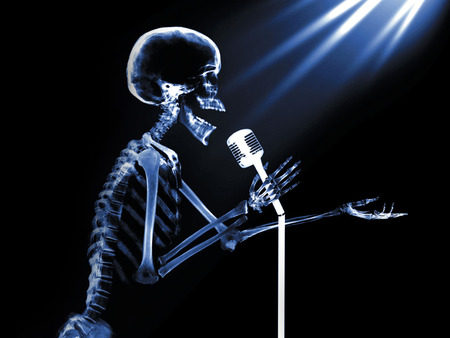 x-ray Stand Up - x-ray, skeleton, microphone, singing, skull