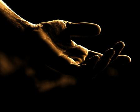 The gesture of love - gesture, reaching out, hand, black background
