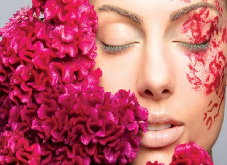 Fashion beauty - flowers, eyes, woman, pink, face, paint