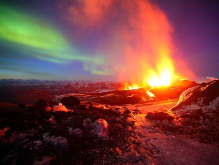 Two Eruptions - borealis, aurora, iceland, sky, lights, night, volcano, earth, nature, ash, fire