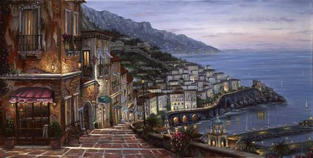 Mediterranian Summer - flowers, mediterranian, rocks, art, path, view, beach, coastal town, water, sailboats, steps, mountain, bench, summer, robert finale, coast, painting, houses, oil painting, roofs, town, plants, buildings, sea, harbor, ocean