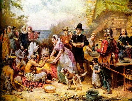 First Thanksgiving - pioneers, thanksgiving, indians, friendship