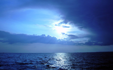 Summer Solstice - clouds, blue, twilight, ocean, nature, reflection