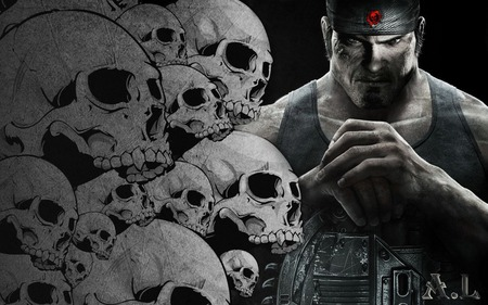 Marcus Fenix Skulls - gears of war 3, entertainment, linkin park, skulls, angels, gow 3, red, marcus finix, avatar, jt, fire, cog, best, 3d, cool, dom, iphon 4, games, video games, new