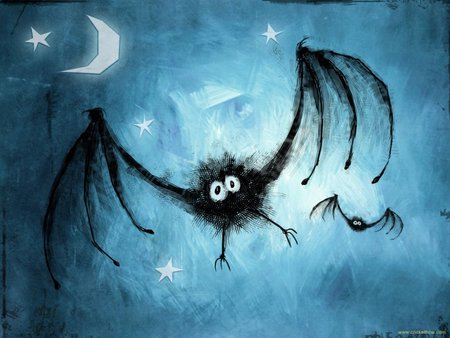 Gisbat - funny, bat, cartoon, Halloween, stars