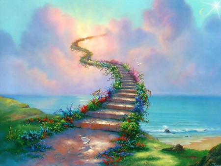 Stairway to Heaven - dove, clouds, heaven, stairway, path, stairway to heaven