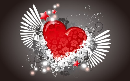 Abstract Heart - wings, red heart, valentines day, valentines, heart
