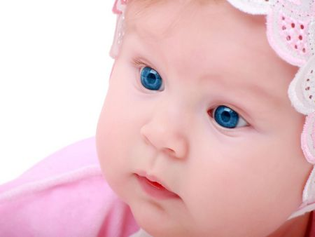 Baby Blues - blue eyes, precious, baby, pink