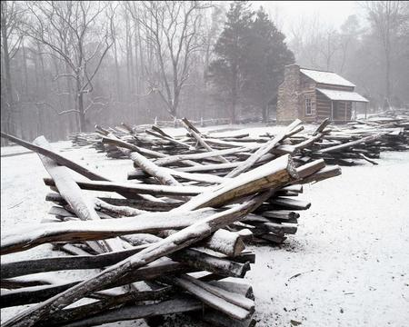 Winter in the Country - chimney, trees, mist, tree, hut, cold, timber, snow, house, fog, logs
