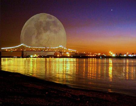 Mississippi moon - bridge, shore, lights, moon mississippi, city, night