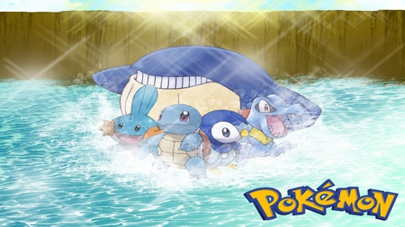 Pokemon - wailmer, piplup, squirtle, mudkip, pokemon, totodile
