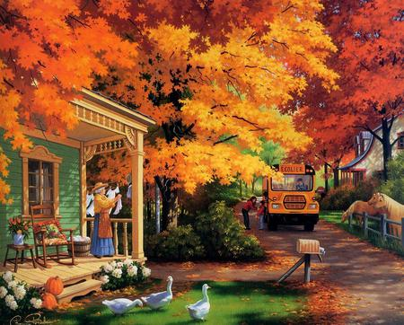 School Bus - flowers, trees, road, school bus, painting, art, bus, fall, autumn, house, horses, gold, ducks, pumpkins