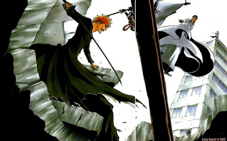 Ichigo vs Aizen - gin, bankai, aizen, ichigo, bleach, sky, fight, orange hair, shinigami, kamane, town, kurosaki, city