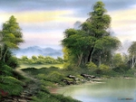Secluded lake by Bob Ross