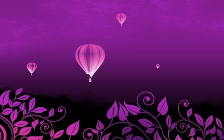 Hot air balloon - balloon, flower, purple, air