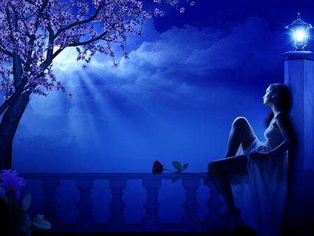 Night - fantasy, moon, 3d, thinking, blue, night, missing, rose, tree, girl, love, art