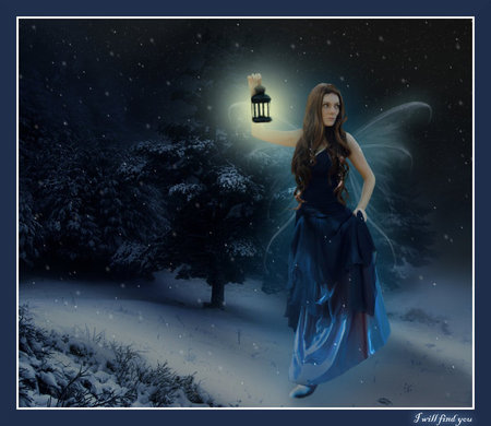 The Night Search - light, woman, fairy, faerie, lantern, night, searching
