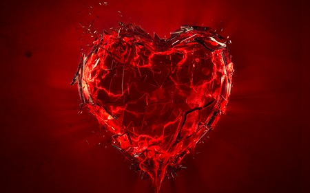 shattered heart - broken, blood, love, red, heart