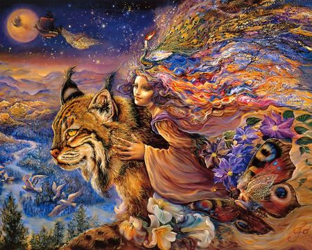 Flight of the Lynx - abstract, butterfly, woman, fairy, josephine wall, neon, starry, mountain, forest, fantasy, princess, peacock, colorful, sky, birds, cat, moon, ship, lynx