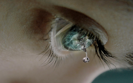 DON'T LET THE TEAR DROP! - dropping, tear, drop, cornea, blue, eye, lashes