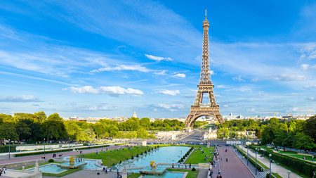 Eiffel Tower - people, paris, beautiful, road, tour eiffel, city-eiffel, view, eiffel, architecture, eiffel tower, water, fountains, france, streets, grass, love, alley, green, cars, trees, colorful, tower, sky, monuments, colors, lanterns, statues, clouds, torre eiffel, park, city