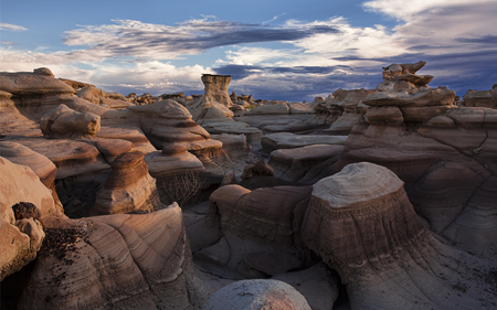 The Bisti Badlands - deserts, clouds, sky, blue, nature, badlands, formations