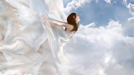 cloudgirl - blue, pretty, beauty, girl, brunette, silk, white, fantasy, shiney, soft, sky, serene, clouds, 3d, peaceful, flying, cg