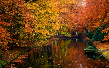 Autumn - splendor, amazing, reflection, canal, autumn, water, nice, riwer, boat, forest, tranquility, foliage, trees, lanscape, serenity, cano, autum, calmness, park, peaceful, lake, beautiful, river, tree, view, magic, fall, falling, landscape, red, boats, colorful, pretrty, shore, colors, color, lovely, autumn colors, leaves, photography, bird, still water, nature, stream