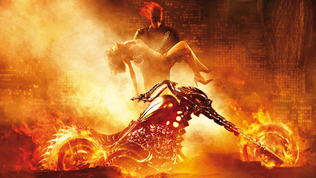 Ghost Rider - bike, nicolas cage, movie, rider, eva mendes, skull, ghost, marvel, fire, ghost rider