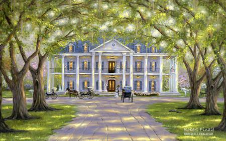 A True Southern Beauty - carriage, mansion, south, elegance, horse, graceful, trees, tea party