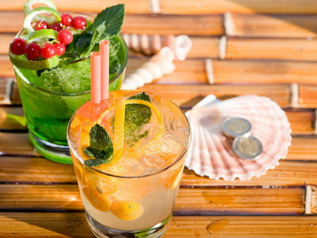 Tropical Drinks - refreshing, cherries, lemon, glasses, shells, cocktails, mint