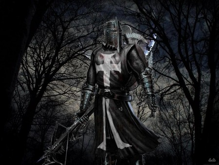 Black Knight - cool, medieval, black, armor, teutonic knight, dark, knight, weapon, dark age, its so cool, black knight, dark art