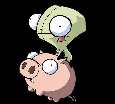 Gir And Pig - funny, invader zim, pig, cute, cartoon, gir