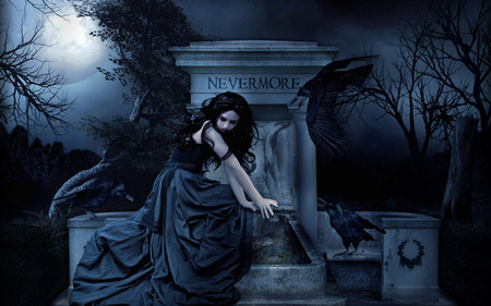Sorrow - grave, girl, beautiful, moonlight, goth, side, night, ravens