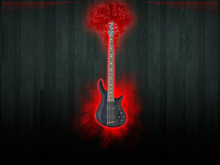 BASS - wood, bass guitar, red, music, black, instraments, bass