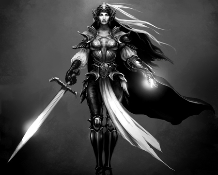 Knight - knight, warrior, fantasy, bw
