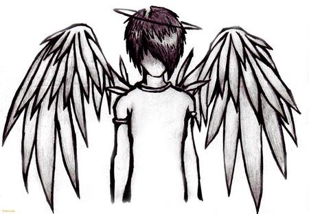 Emo Angel - wings, boy, angel, black, white, emo