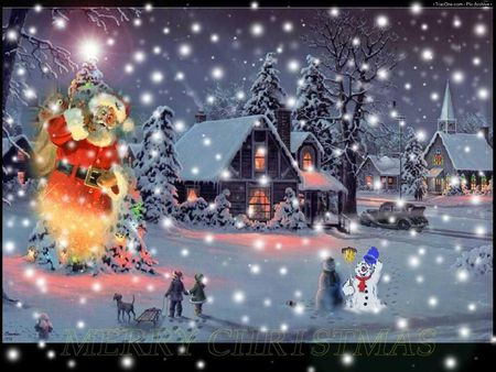 winter snow xmas - nigth, snow, abstract, xmas, fantast, winter, snowman